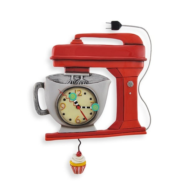 red retro kitchen clock playableartdc allen designs red vintage kitchen mixer wall clock with cupcake pendulum shop