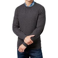 Tasso Elba Mens Chevron Sweater Charcoal Heather - LT