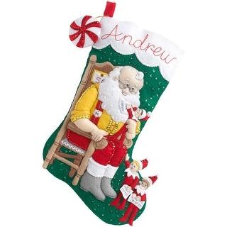 "Elf On The Shelf Santa & Scout Stocking Felt Applique Kit-18"" Long"