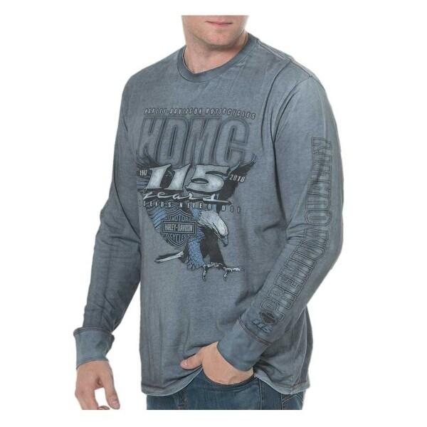 Harley-Davidson Men's 115th Anniversary Landing Long Sleeve Shirt, Blue Wash