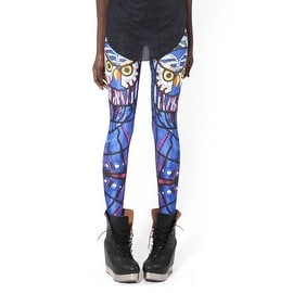 Fashion Lady Pattern Printed Midnight Owl Design Stretch Tight Leggings Skinny Pants