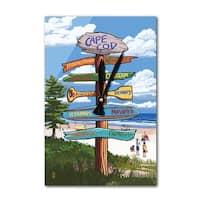 Cape Cod, MA - Destination Sign - LP Artwork (Acrylic Wall Clock) - acrylic wall clock