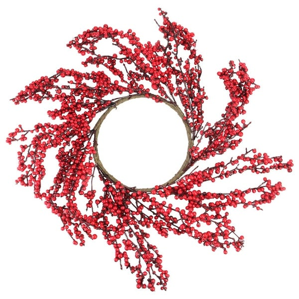 "22"" Festive Red Berries Artificial Christmas Wreath – Unlit - brown"