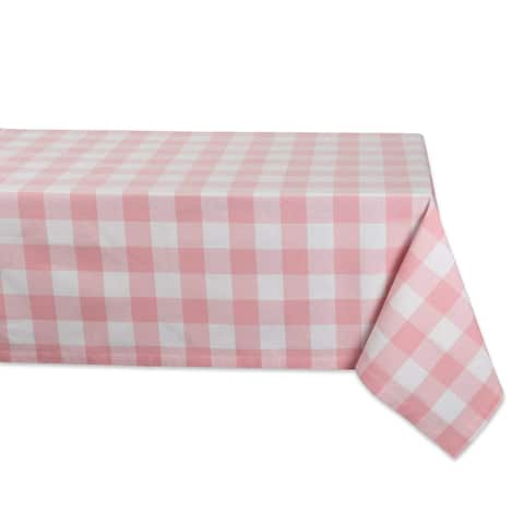 """52"""" Pale Pink and White Checkered Square Tablecloth"""