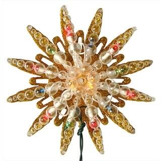 """9"""" Pre-Lit Gold Glitter Starburst Christmas Tree Topper - Multi Lights"""
