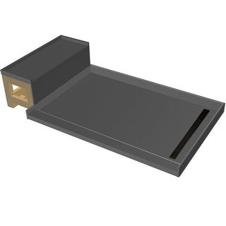 """Tile Redi RT3660R-RB36-KIT  Base'N Bench 72"""" X 36"""" Three Wall Alcove Shower Pan with Single Curb, Bench, and 2"""" Right-Side Drain"""