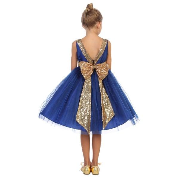 Shop Kids Dream Girls Royal Blue Sequin Tulle Plus Size ...