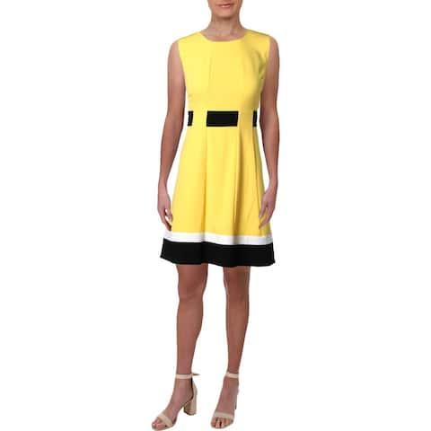 Calvin Klein Womens Petites Wear to Work Dress Colorblock Sleeveless