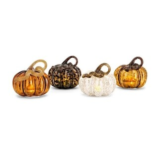 Set of 4 Vibrantly Colored Glass Decorative Medium LED Pumpkins 8""