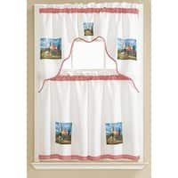 Lola Rooster Printed 3-Piece Kitchen Curtain Tiers & Swag Valance Set, White, 60x36 & 30x36