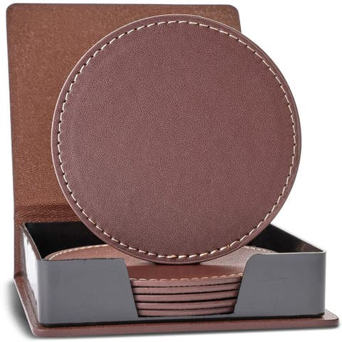 "6pcs Brown PU Leather 3.6"" Round Drink Coasters Coffee Cup Mat Pad with Holder"