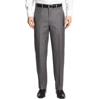 Ralph Lauren Big and Tall Neat Flat Front Dress Pants Grey 42 x 30
