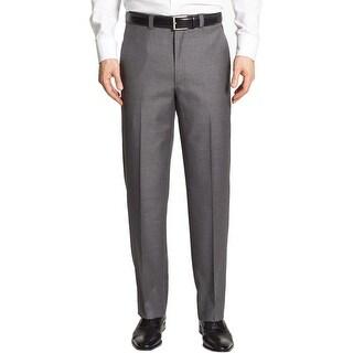 Ralph Lauren Big and Tall Neat Flat Front Dress Pants Grey 42W x 32L - 42