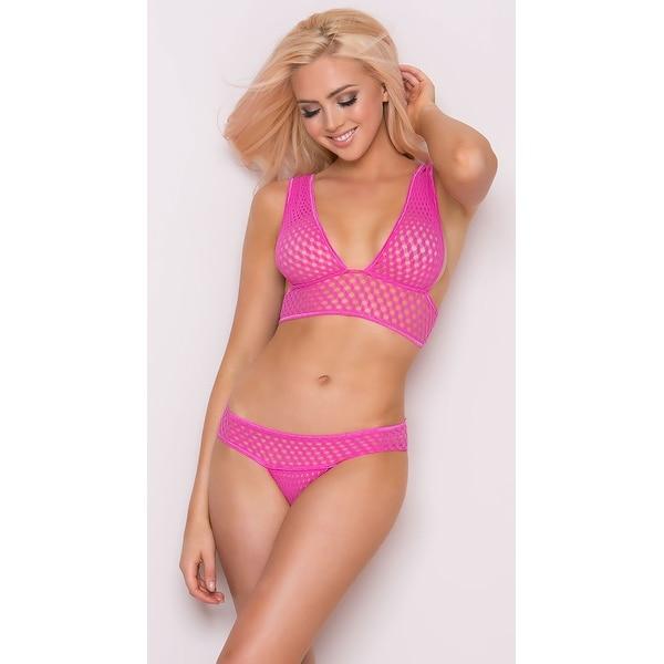Shop Pink Fishnet Bra And Panty Set 2aa60792c