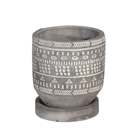 """5"""" Gray and White Tribal Pattern Planter with Saucer"""