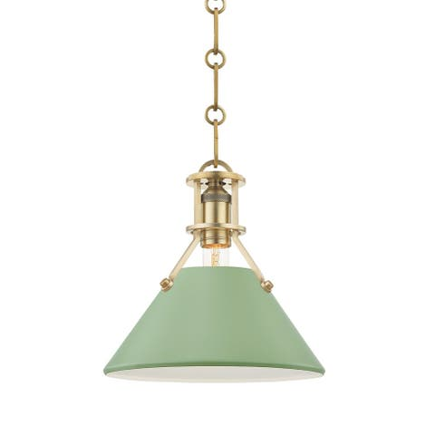 Hudson Valley Painted No.2 by Mark D. Sikes Small 1-Light Pendant with Leaf Green Shade