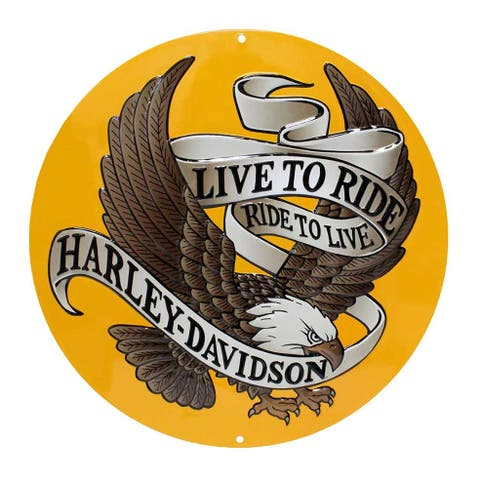 Harley-Davidson Round Tin Sign, Live To Ride, Ride To Live Eagle Gold 2010231 - 14""