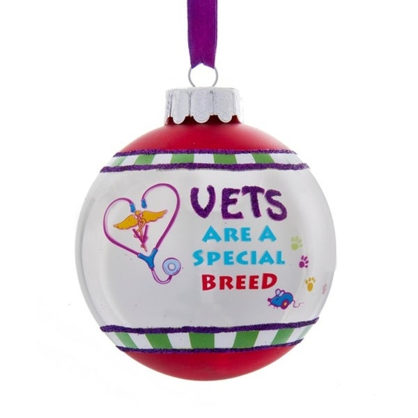 "3"" Gittered ""Vets Are A Special Breed"" Christmas Ball Ornament"