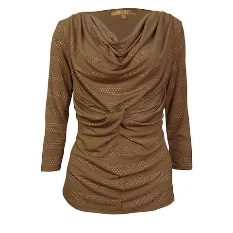 Ellen Tracy Women's Textured Dot Cowl Knit Twist Jersey Top - Vicuna - XS