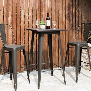 Link to Carbon Loft Greenwood Industrial Metal Bar Table With Elm Top Similar Items in Dining Room & Bar Furniture