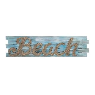"""47.25"""" Decorative Woven Seagrass on Mahogany Wood Beach Wall Decor"""