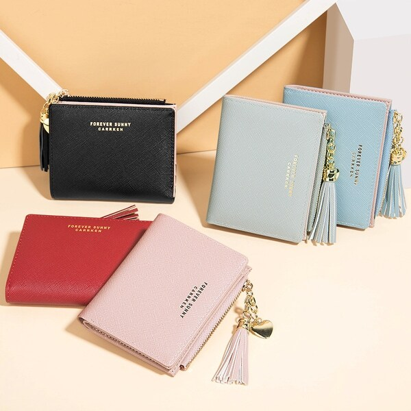 New Wallet Ladies Short Korean Fashion Vertical Cross Tassel Zipper Coin Purse Lady Cash Purse - M. Opens flyout.