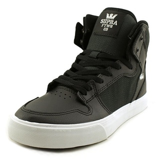 Supra Vaider Youth  Round Toe Leather Black Sneakers