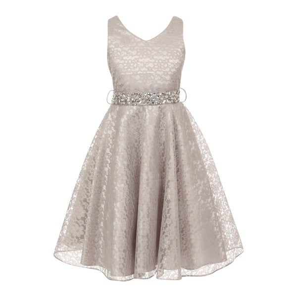 Shop Little Girls Silver Lace Rhinestone Grosgrain Belt Flower Girl Dress  2T-6 - Free Shipping Today - Overstock - 18163504 f3bf60caddca