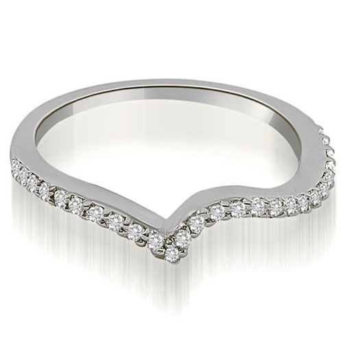 0.20 cttw. 14K White Gold Curved Round Cut Diamond Wedding Ring