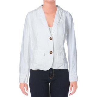 Three Dots Womens Linen Notch Collar Two-Button Blazer