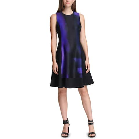 DKNY Womens Scuba Dress Colorblock Fit & Flare - 14