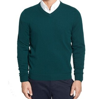 JOHN W NORDSTROM NEW Green Mens Size XL V-Neck Cashmere Sweater