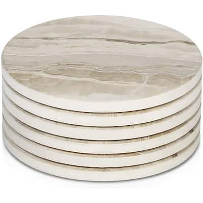 LIFVER Drink Coasters 6 Pieces Ceramic Absorbent Coasters