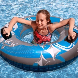 "50"" Blue, Gray and White Giant Inflatable Swimming Pool Hurricane Sport Inner Tube - Blue"