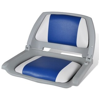 "vidaXL Boat Seat Foldable Backrest with Blue-white Pillow 16.1""x20.1""x18.9"""
