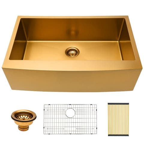Lordear 33 Inch Farmhouse Kitchen Sink Apron-Front Matte Gold 16 Gauge Stainless Steel Deep Single Bowl Kitchen Farm Sink Basin