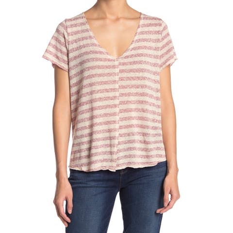 Project Social T Womens Red Size XL V-Neck Striped T-Shirt Knit Top
