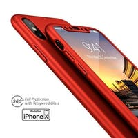 Indigi 360 Protective Case Hard Cover w/ Tempered Glass for iPhone X