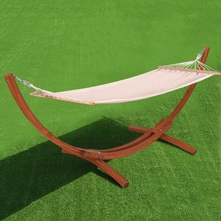 Costway 142''x50''x51'' Wooden Curved Arc Hammock Stand with Cotton Garden Outdoor - as pic
