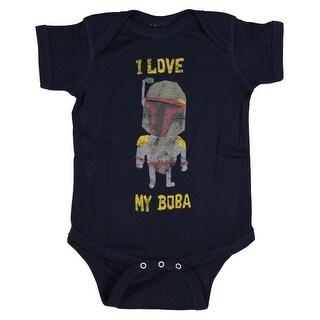 Star Wars Unisex Baby Boba Fett I Love My Boba Romper Snapsuit