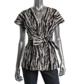 Tracy Reese Womens Blouse Printed Tie Waist - m