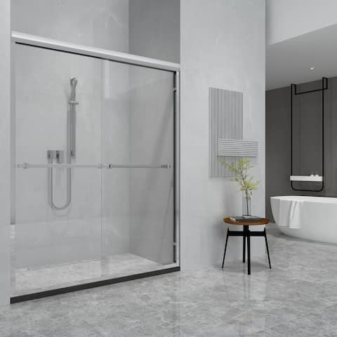 "Ascoli 60"" W x 76"" H Double Sliding Framed Shower Door in Chrome - 60 inches"
