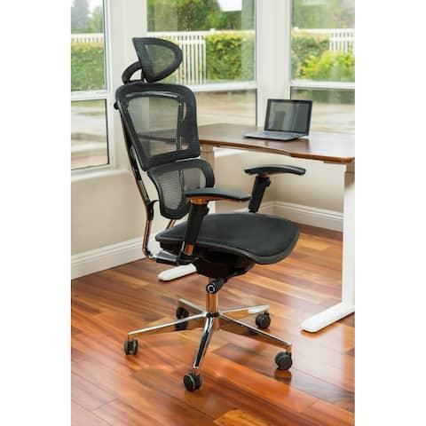 ErgoMax Ergonomic Adjustable Executive Office Chair w/ Headrest and Black Mesh - N/A