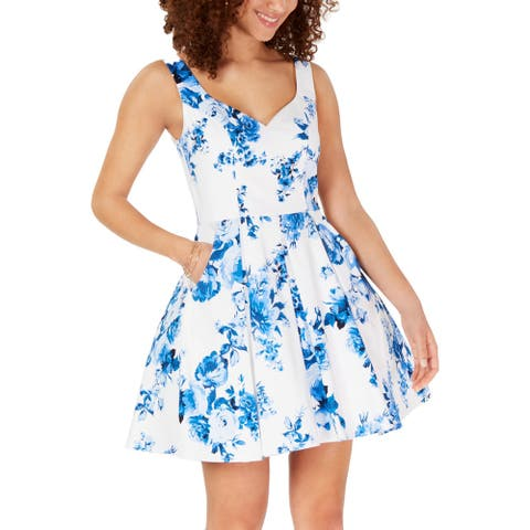 Trixxi Womens Juniors Casual Dress Floral Fit & Flare - Blue/White