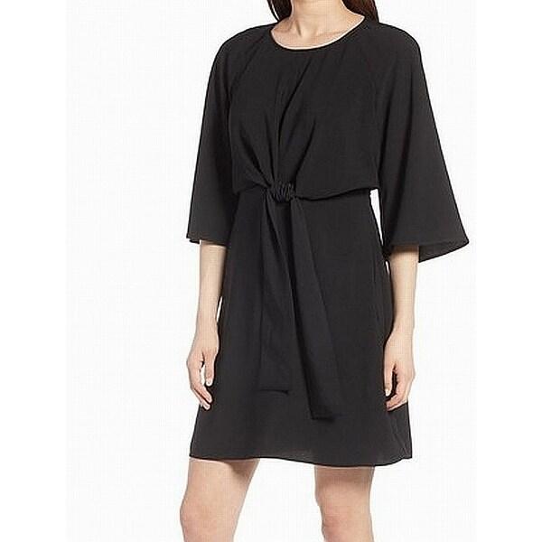 Halogen Black Womens Size XS 3/4 Sleeve Tie Front Shift Dress
