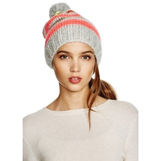 Aqua Ladies Grey and Pink Multi-Striped Beanie With Pom Pom Made In Italy