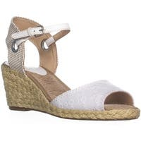 Lucky Brand Kyndra Wedge Sandals, White/Natural