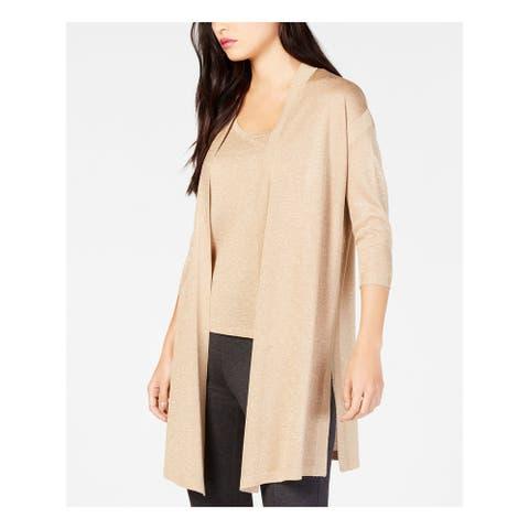 ANNE KLEIN Womens Gold Heather Open Cardigan Sweater Size 2XS