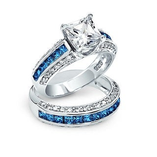 Bling Jewelry Blue CZ Princess Cut Wedding Ring Set Silver