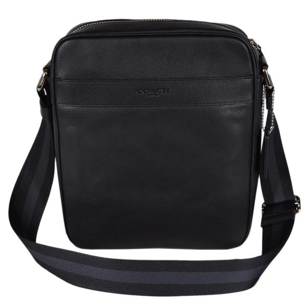 Coach Men  x27 s F54782 Black Leather Smith Flight Crossbody Day Bag - 10 5316b53d49